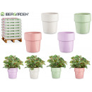 Stackable conical ceramic pot, 4 times assorted c