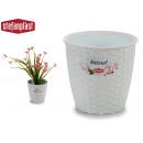 pot de fleurs naturel inter / exter 14diam blanc