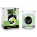 glass candle glass 30h green and lime tea