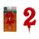 große rote 2 geburtstagskerze