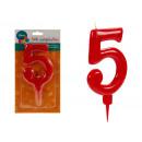 große rote 5 Geburtstagskerze