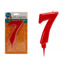 big red 7 birthday candle