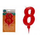 big red 8 birthday candle