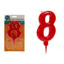 große rote 8 geburtstagskerze