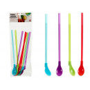 set of 8 straws spoon assorted colors