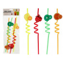 set of 4 straws spiral fruits colors surti