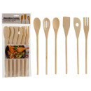 set of 6 wood kitchen utensils
