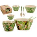 mayorista Alimentos y bebidas: conjunto de boles cubiertos fibra bambu hojas, 2 v