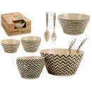 Großhandel Haushalt & Küche: Set von Schalen bedeckt Faser Bambus Streifen 2 ve