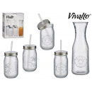 set of jar 1l and cans with straw 40cl