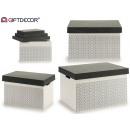 conjunto de 3 cajas madera tapa gris blanco