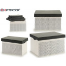 Großhandel Home & Living: 3er-Set weißgraue Holzdeckelboxen