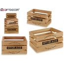 ingrosso Ingrosso Drogheria & Cosmesi: set di 3 scatole di stoccaggio in legno naturale