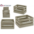 set of 3 gray wooden storage boxes