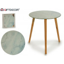 glass table marble 40cm wooden legs