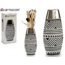 wholesale Flowerpots & Vases: ceramic vase oval silver rhombuses bleached ng
