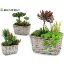 wholesale Artificial Flowers: square garden planter, 3 times assorted Models