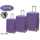 set of 3 purple abs suitcases
