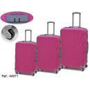 Großhandel Koffer & Trolleys: Set mit 3 Koffern in ABS Fuchsia