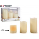 set of 3 candles led taco c batteries white broken