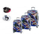 set of 3 suitcases decoration postcards