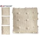 wholesale Cushions & Blankets: cream wool cushion 45x45cm rhombs 4 times assorted