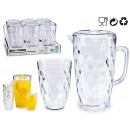 1,5l jar set 4 transparent plastic cups