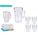wholesale Drinking Glasses: 1,5l jar set 4 transparent plastic cups