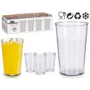 set of 3 transparent plastic soda glasses