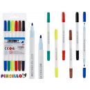 6 double tip pens