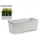 rectangular white planter silver edge