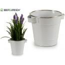 white metal bucket silver edge