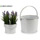bucket metal c white handle silver edge