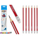 6 triangular pencils with rubber assorted 2 colors