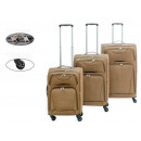set of 3 brown fabric suitcases