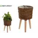 planter round brown with legs
