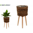 planter round brown with legs medium