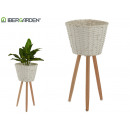 white conical planter with large legs
