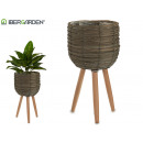 round gray planter with legs median