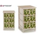 mobile in legno 3 cassetti larghe foglie verdi