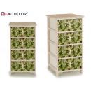 mobile in legno 4 cassetti larghe foglie verdi
