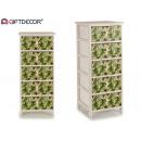 mobile in legno 5 cassetti larghe foglie verdi