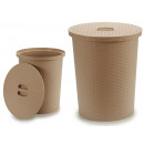 wholesale Laundry: basket for casting rattan 25l round beige