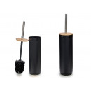 black toilet brush with bamboo lid