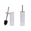 white toilet brush with bamboo lid