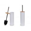biała szczotka toaletowa z bambusową pokrywką