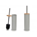 gray toilet brush with bamboo lid