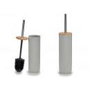 graue Toilettenbürste mit Bambusdeckel