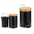 grossiste Jardin et bricolage: 3l corbeille à papier noire avec couvercle en bamb