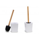 white square toilet brush bamboo